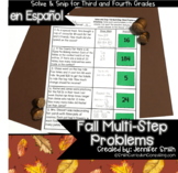 Spanish Fall Math Activity | Multi-Step Problems Solve and