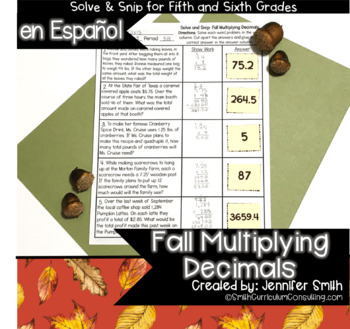 Spanish Fall Math Activity | Multiplying Decimals Solve and Snip® | 5th & 6th