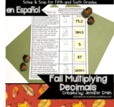 Spanish Fall Math Activity | Multiplying Decimals Solve an