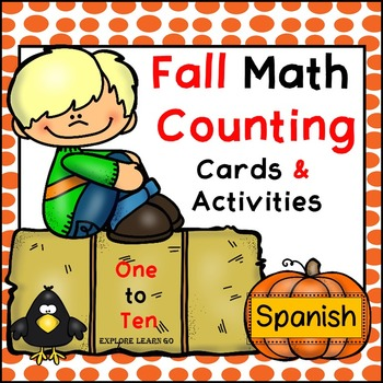 Spanish / Fall Math Counting 1 - 10 / Math Center Cards &
