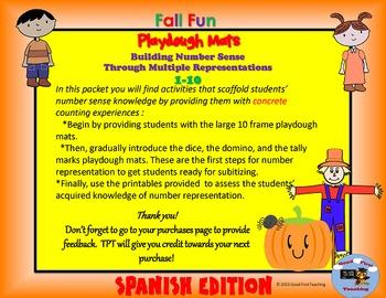 Otono! Spanish Fall Number Sense Playdough Mats Bundle