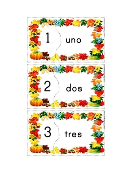 Spanish Fall Number (Vocabulary) Puzzles