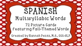 Spanish Fall-Themed Multisyllabic Word Cards
