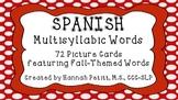 Spanish Fall-Themed Multisyllabic Word Cards