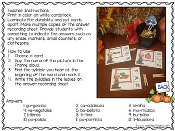 Spanish: Fall Themed Syllable Stations