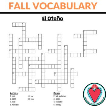 Spanish Fall Vocabulary Crossword