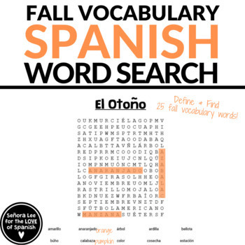 Spanish Fall Vocabulary Word Search
