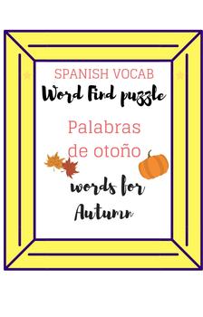 Spanish Fall Words Word Search Palabras de otoño