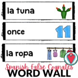 Spanish False Cognates - Spanish Vocabulary Word Wall - Bu