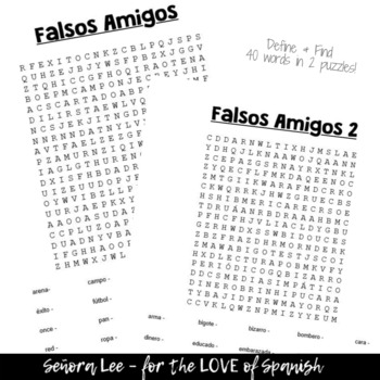 Spanish False Cognates WORD SEARCH Falsos Amigos