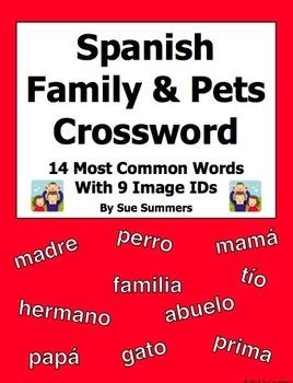 Spanish Family 14 Word Crossword and 9 Picture IDs - La Familia