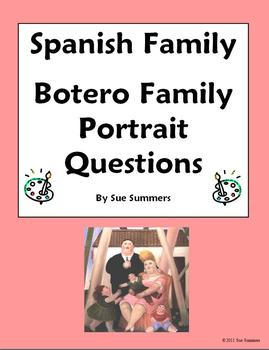 Spanish Family & Artist Botero - 7 Question Worksheet - Familia y Arte