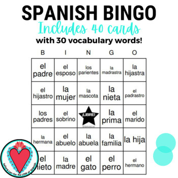 Spanish Bingo: Family Members | La Familia