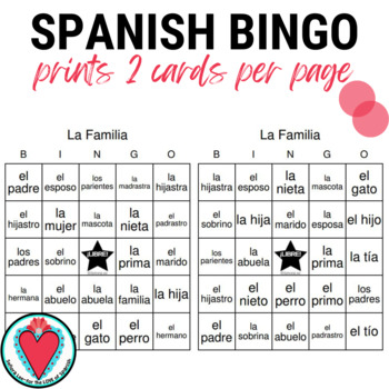 Spanish Family Vocabulary Bingo La Familia Tpt