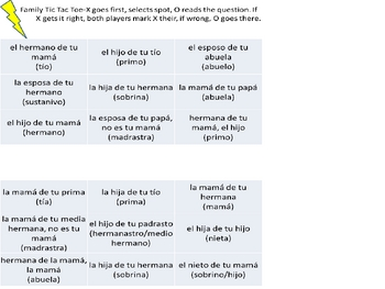 Spanish Family Bingo and Tic Tac Toe