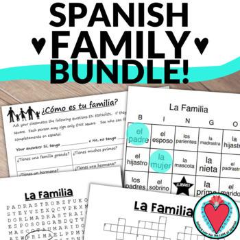 Spanish Family Vocabulary BUNDLE-Crossword, WordSearch, Bi