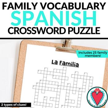 Spanish Family Vocabulary / La Familia CROSSWORD
