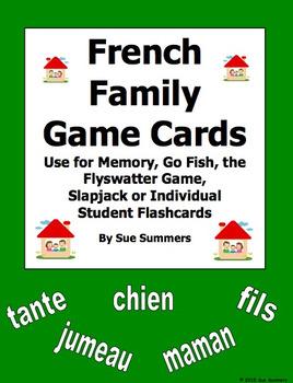 Spanish Family Cards for Flashcards, Memory, Go Fish, Flyswatter Game