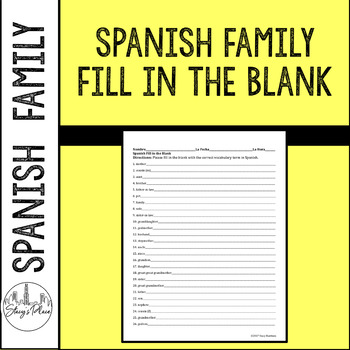 Spanish Family Fill in the Blank Activity