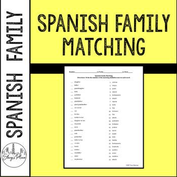 Spanish Family Matching Activity