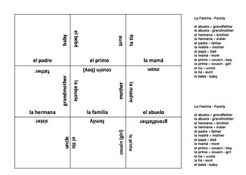 Spanish Family Matching Squares 2 Puzzles - 9 Square Basic Words