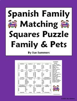Spanish Family Matching Squares Puzzle - Family and Pets - Familia