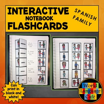 Spanish Family Members Interactive Notebook Flashcards, Familia