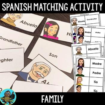 Spanish Family Members Matching Activity