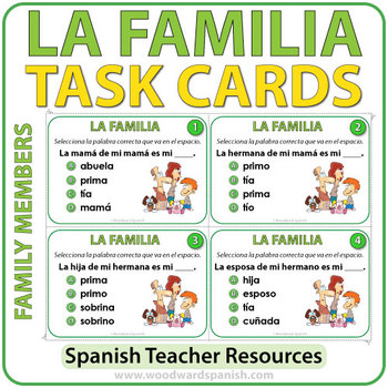 Spanish Family Members - Task Cards