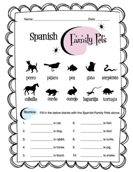 Spanish Family Pets Worksheet Packet