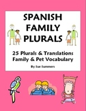Spanish Family and Plurals - 25 Vocabulary Translations Worksheet