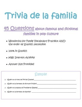 Spanish Family Questions Worksheet - Trivia de la familia