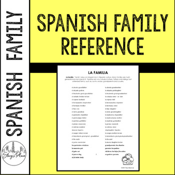 Spanish Family Reference Guide