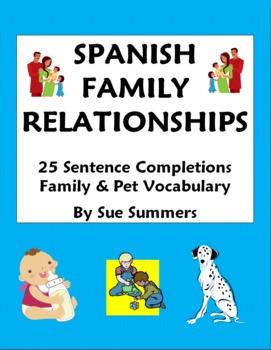 Spanish Family Relationships - 25 Sentence Completions Worksheet