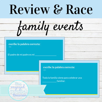 Spanish Family Relationships and Events Word Race activity
