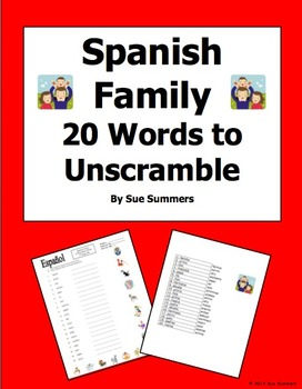 Spanish Family Scrambled Words and Image IDs
