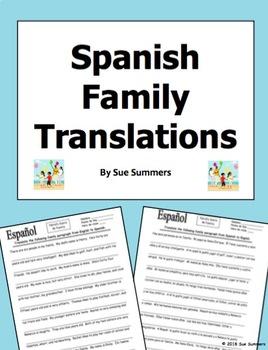 Spanish Family Translation English to Spanish and Spanish to English