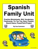 Spanish Family Bundle - Vocabulary, 16 Worksheets, Project, Quiz, Skit