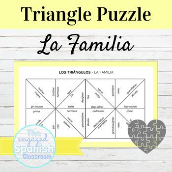 Spanish Family Vocab: Triangle puzzle for basic family words (La Familia)