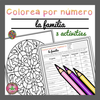 Spanish Family Vocabulary Activities | Color By Number | Colorea por número