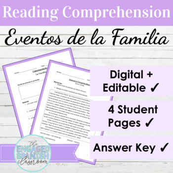 Spanish Family Vocabulary Reading Comprehension Activities