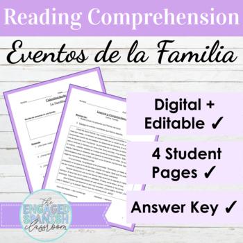 "Spanish Family Vocabulary Reading Comprehension: ""Entre Fa"
