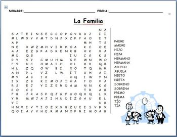 Spanish - Family Vocabulary Word Search