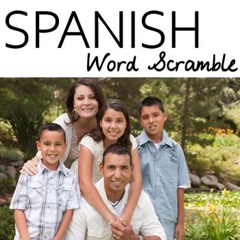 Spanish Family Word Scramble