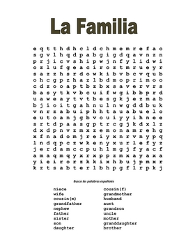 Spanish Family Wordsearch