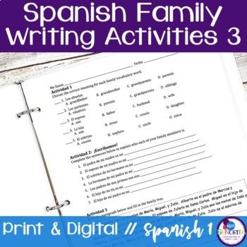Spanish Family Writing Activity 3