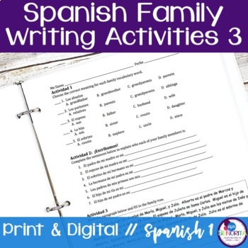 Spanish Family Writing Activity 3