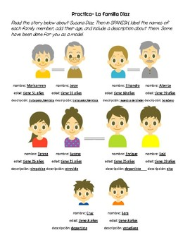 Spanish Family, age, and adjectives practice