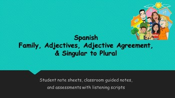 Spanish- Family and Adjective Vocabulary and Assessment Bundle
