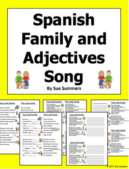 Spanish Family and Adjectives Song Esta Es Mi Familia